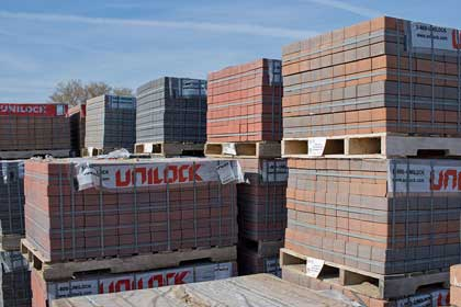 Stacks of Unilock pavers